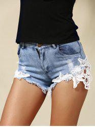 Mid Rise Lace Insert Denim Jeans Shorts