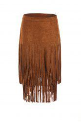 Stylish Multi-Layered Fringe Solid Color Suede Skirt For Women -