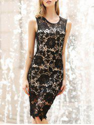 Lace Crochet Bodycon Knee Length Dress - BLACK