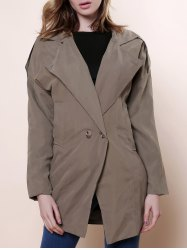 Casual Lapel Neck Solid Color Loose-Fitting Long Sleeve Women's Trench Coat - ARMY GREEN
