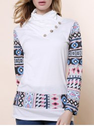 Stylish Cowl Neck Long Sleeve Printed Spliced Button Embellished Women's Sweatshirt