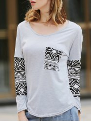 Simple Style Scoop Neck Geometric Print Spliced T-Shirt For Women