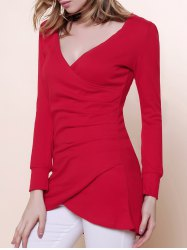 Sexy V-Neckline Ruffled and Asymmetric Hem Design Women's Knitted Fabric Dress