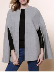 Long Sleeve Solid Color Asymmetrical Wool Cape Coat - GRAY