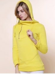 Stylish Hooded Long Sleeve Zippered Solid Color Women's Hoodie -