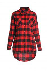 Stylish Shirt Collar Long Sleeve Plaid Asymmetrical Women's Shirt