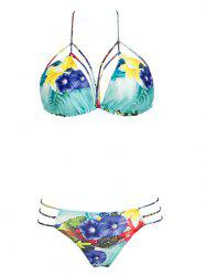 Attractive Halter Neck Floral Print Bikini Set For Women