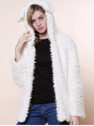 Cute Bear Ear Design Hooded Long Sleeves Women's White Faux Fleece Coat - WHITE