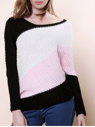 Sweet Style Scoop Neck Batwing Sleeve Color Stripe Knitting Women's Sweater - PINK ONE SIZE