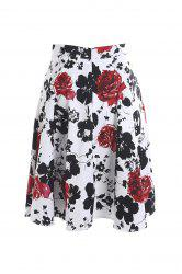 Vintage Style High-Waisted Floral Print A-Line Women's Skirt