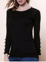 Graceful Scoop Neck Long Sleeves PU Leather Embellished Women's Slimming Fit Knitwear