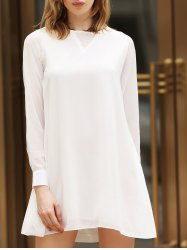 Flounce Long Sleeve Chiffon Shift Dress - WHITE