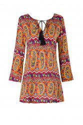 Ethnic V-Neck 3/4 Sleeve Fringed Paisley Dress For Women