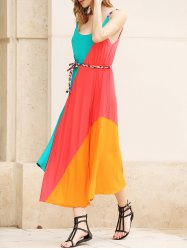 Striped Irregular Hem Ranibow Maxi Dress With Belt - AS THE PICTURE ONE SIZE