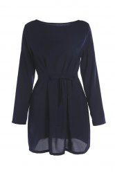 Brief Round Collar Long Sleeve Purplish Blue Self-Tie Women's Dress - PURPLISH BLUE