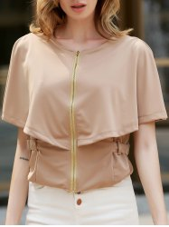 Stylish Round Neck 1/2 Sleeve Solid Color Zippered Slimming Women's Jacket - KHAKI L