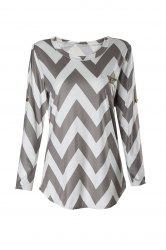 Stylish Scoop Neck Long Sleeve Chevron Stripe Slimming Women's T-Shirt