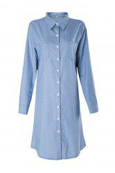 Brief Polo Collar Blue Long Sleeve Denim Blouse For Women