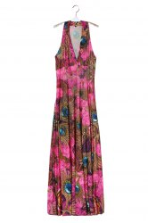 Plunge Neck Sleeveless Racerback Hawaiian Printed Maxi Dress