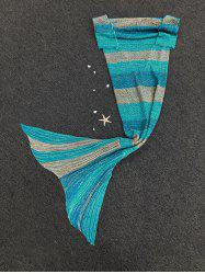 Fashion Stripe Knitted Mermaid Tail Design Blankets For Adults - COLORMIX