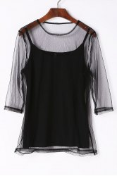 Charming Round Neck See-Through 3/4 Sleeve T-Shirt For Women -