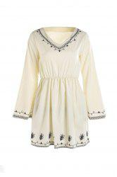 Stylish V-Neck Flare Sleeve Embroidered Chiffon Women's Dress