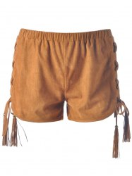 Women's Chic Lace-Up Pure Color Shorts - CAMEL
