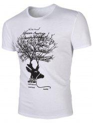 Round Neck Deer Print Short Sleeves T-Shirt For Men