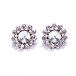 Pair of Vintage Rhinestone Blossom Shape Earrings