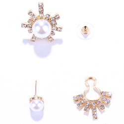Pair of Alloy Asymmetric Faux Pearl Earrings