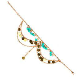 Vintage Sequins Beads Anklet For Women - GOLDEN
