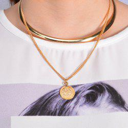Multilayer Embossed Coin Necklace -