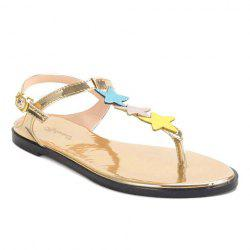 Star Embellished Metallic Thong Sandals