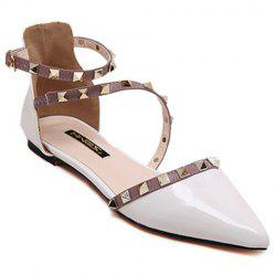 Stylish Hit Colour and Rivets Design Flat Shoes For Women - WHITE