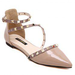 Stylish Hit Colour and Rivets Design Flat Shoes For Women - NUDE