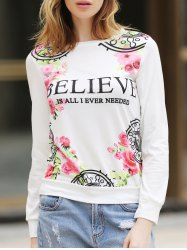 Fresh Style Jewel Neck Letter and Rose Printed Pullover Sweatshirt For Women - WHITE