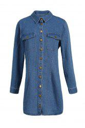 Plus Size Button Up Jean Shirt Dress