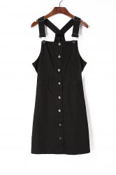 Buttoned Black Cord Pinafore Dress