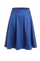 High Waist Solid Color A-Line Ball Circle Skater Skirt