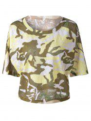Fashionable  Round Collar 3/4 Sleeve Camouflage T-shirt -