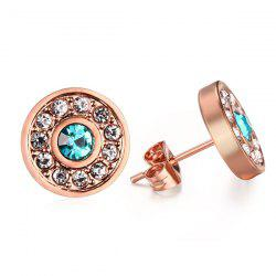 Pair of Chic Rhinestoned Circle Earrings For Women