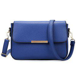 Simple Style Metal and Magnetic Closure Design Crossbody Bag For Women - BLUE