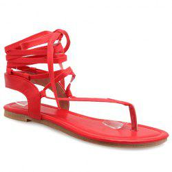 Lace Up Calf Thong Sandals