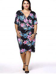 Plus Size Hawaiian Floral Short Sleeve Wrap Dress