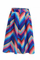 High Waist Zig Zag A Line Skirt