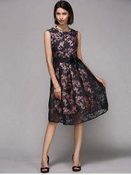 Elegant Round Neck Sleeveless Floral Print Organza Dress For Women