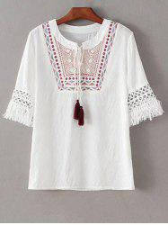 Stylish Round Neck Half Sleeve Ethnic Embroidery Women's T-Shirt -