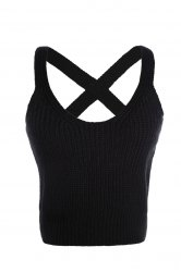 Stylish V Neck Pure Color Cross Halter Women's Tank Top -
