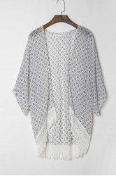 Stylish Collarless 3/4 Sleeve Polka Dot Print Women's Kimono -
