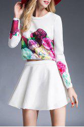 Floral Print T-Shirt and High Waist Solid Color Skirt -